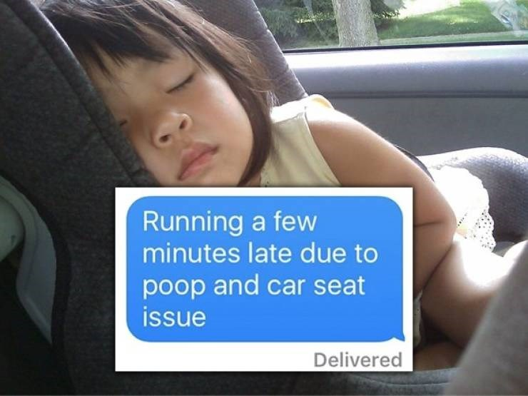 Vehicle door - Running a few minutes late due to poop and car seat issue Delivered
