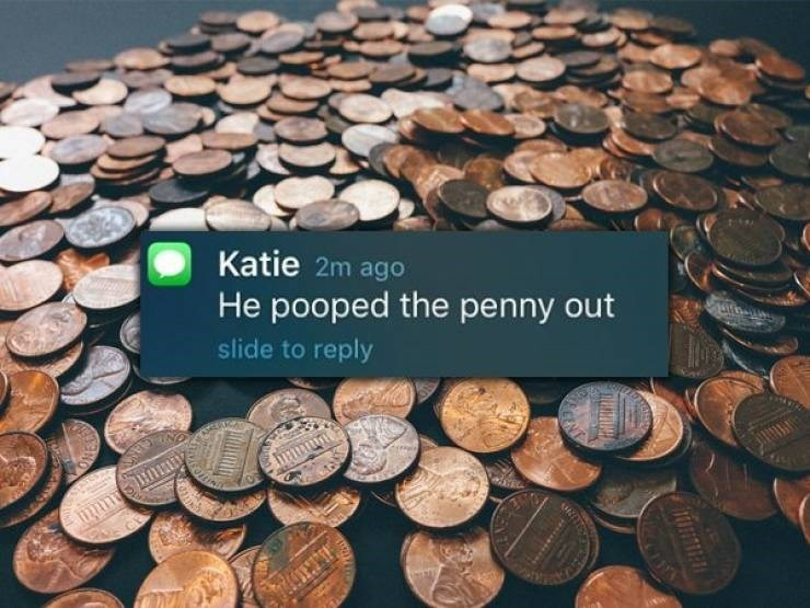 Money - Katie 2m ago He pooped the penny out slide to reply