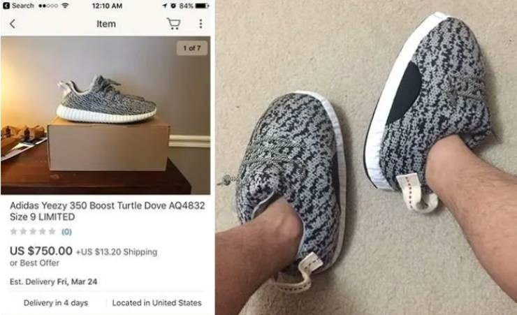 Footwear - 84 % Search 12:10 AM Item 1 of 7 Adidas Yeezy 350 Boost Turtle Dove AQ4832 Size 9 LIMITED (0) US $750.00 US $13.20 Shipping or Best Offer Est. Delivery Fri, Mar 24 Located in United States Delivery in 4 days