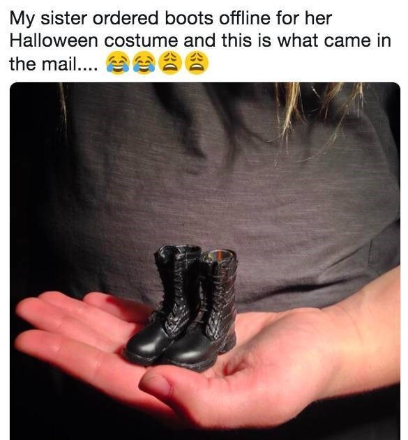 Text - My sister ordered boots offline for her Halloween costume and this is what came in the mail.