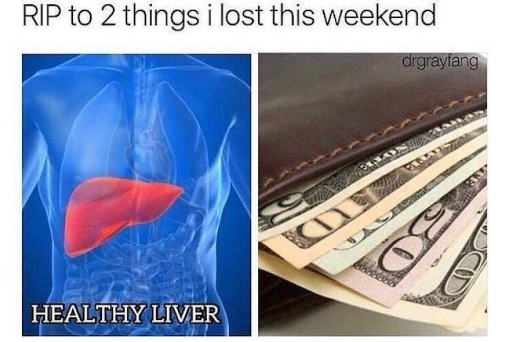 alcohol meme - Leather - RIP to 2 things i lost this weekend drgrayfang HEALTHY LIVER