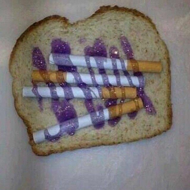 cursed image - Food cigarettes on bread