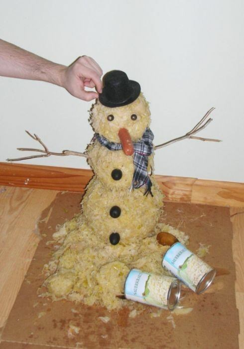 cursed image-snowman made out of food