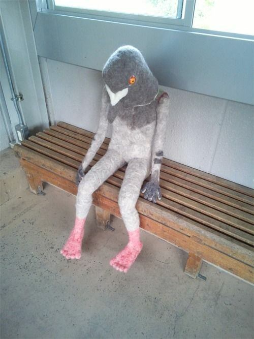 cursed image - pigeon shaped human on a bench