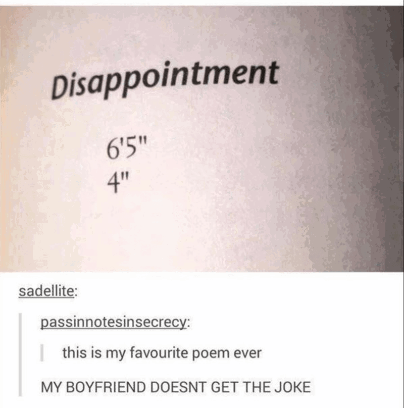 """dank memes - Text - Disappointment 6'5"""" 4"""" sadellite: passinnotesinsecrecy: this is my favourite poem ever MY BOYFRIEND DOESNT GET THE JOKE"""