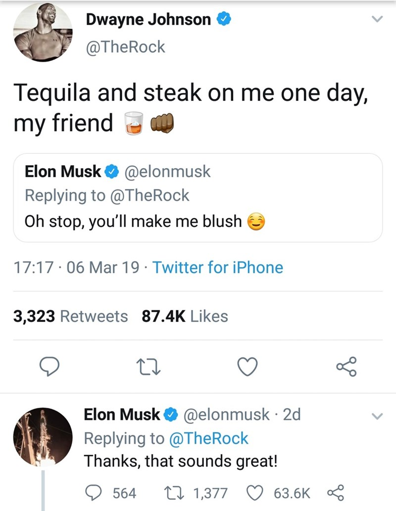 dank memes - Text - Dwayne Johnson @TheRock Tequila and steak on me one day, my friend Elon Musk @elonmusk Replying to @TheRock Oh stop, you'll make me blush 17:17 06 Mar 19 Twitter for iPhone 3,323 Retweets 87.4K Likes @elonmusk 2d Replying to @TheRock Thanks, that sounds great! Elon Musk ti 1,377 564 63.6K