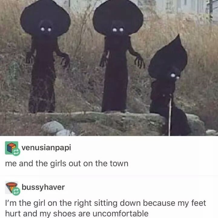 dank memes - Text - venusianpapi me and the girls out on the town bussyhaver I'm the girl on the right sitting down because my feeet hurt and my shoes are uncomfortable