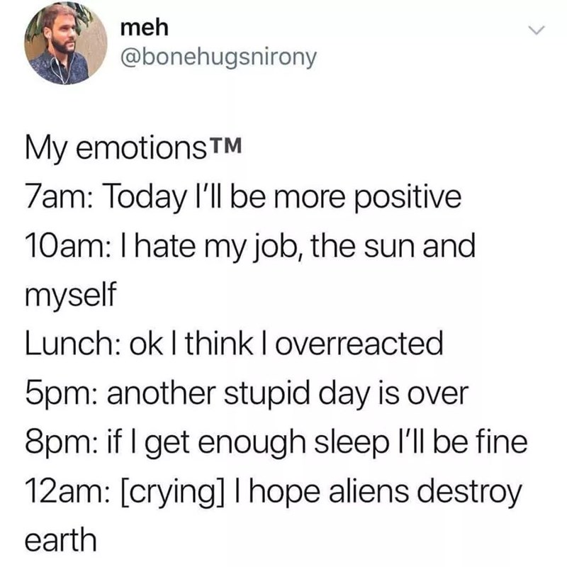 dank memes - Text - meh @bonehugsnirony My emotions TM 7am: Today I'll be more positive 10am: I hate my job, the sun and myself Lunch: ok I think loverreacted 5pm: another stupid day is over 8pm: if I get enough sleep I'll be fine 12am: [crying] Ihope aliens destroy earth