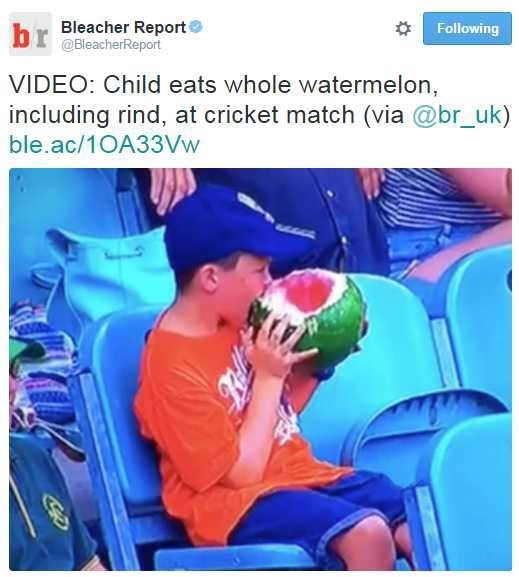 """Tweet from the Bleacher Report that reads, """"VIDEO: Child eats whole watermelon including rind, at cricket match"""" above a pic of said child eating a water melon, rind and all"""