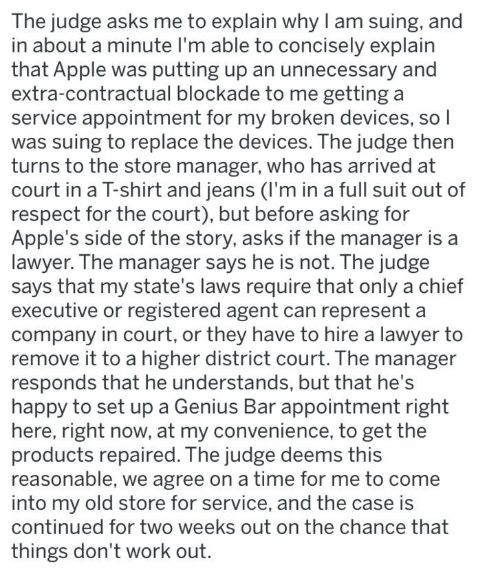 screenshot of text from reddit about apple fail