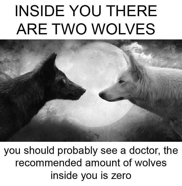 Canidae - INSIDE YOU THERE ARE TWO WOLVES you should probably see a doctor, the recommended amount of wolves inside you is zero