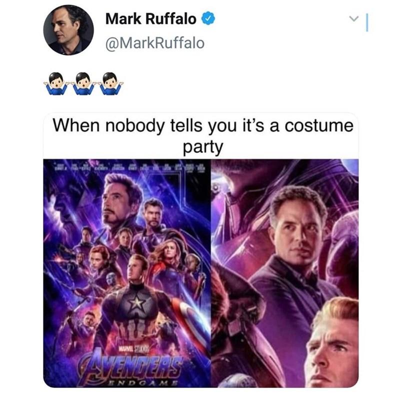 meme - Text - Mark Ruffalo @MarkRuffalo When nobody tells you it's a costume party MARVEL STUI eaeths ENDGAME
