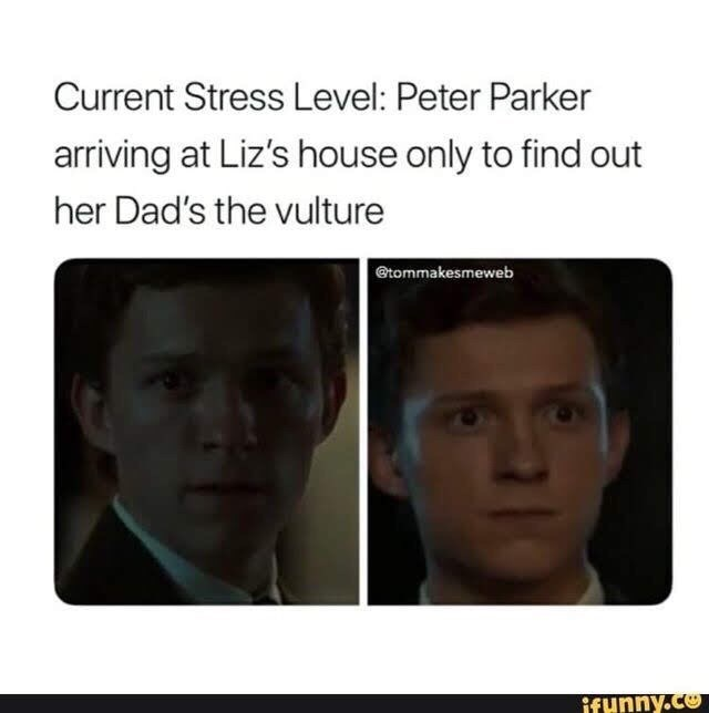 meme - Face - Current Stress Level: Peter Parker arriving at Liz's house only to find out her Dad's the vulture Gtommakesmeweb ifunny.co