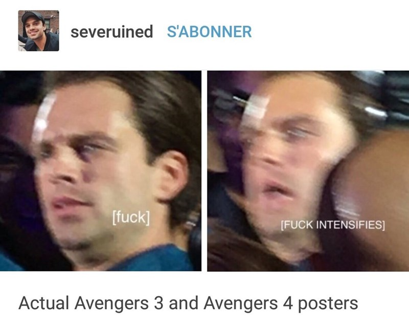 meme - Face - severuined S'ABONNER [fuck] [FUCK INTENSIFIES] Actual Avengers 3 and Avengers 4 posters