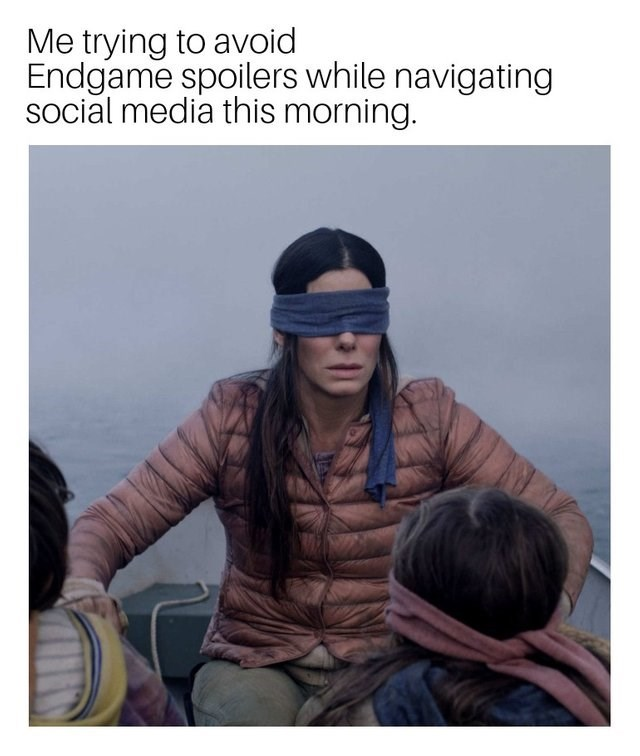 meme - Human - Me trying to avoid Endgame spoilers while navigating social media this morning.