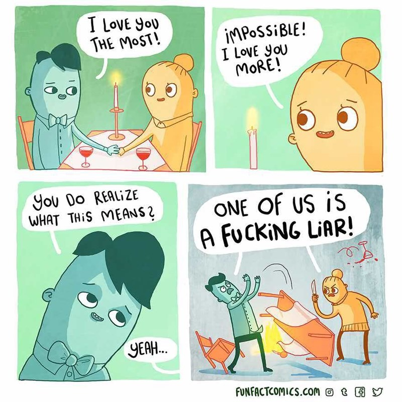Cartoon - T LovE you THE MOST! IMPOSSIBLE! I LovE you MORE! You Do REALIZE WHAT THIS MEANS2 ONE Of US is A FUCKING LIAR! YEAH.. FUNFACTCOMICS.com t