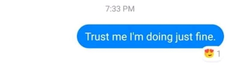 Text - 7:33 PM Trust me I'm doing just fine. &1
