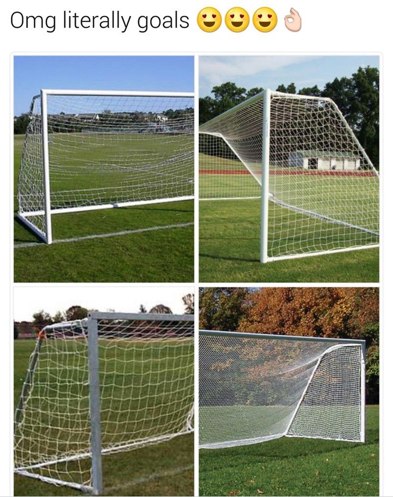 "Caption that reads, ""Omg literally goals"" above four photos of soccer goals"