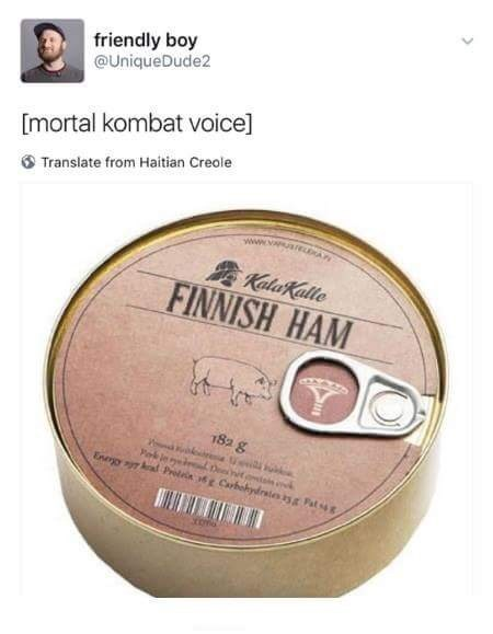 "Caption that reads, ""Mortal Kombat voice"" above a photo of a a can of ham called ""Finnish Ham"""