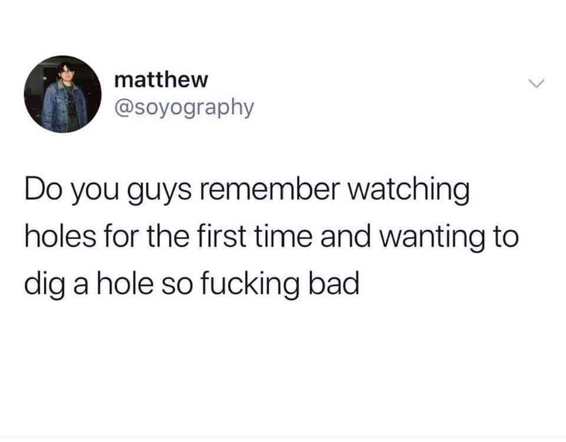 """Tweet that reads, """"Do you guys remember watching holes for the first time and wanting to dig s hole so fucking bad"""""""