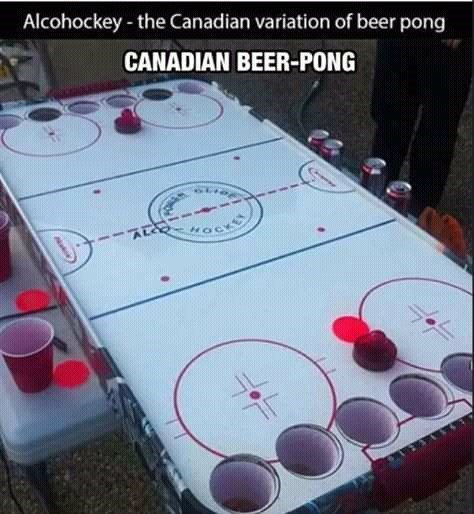 canada meme - Indoor games and sports - Alcohockey-the Canadian variation of beer pong CANADIAN BEER-PONG AECOHOCK