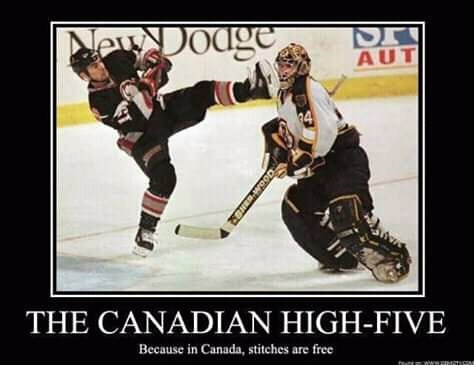 canada meme - Ice hockey equipment - NeDodge AUT 4 THE CANADIAN HIGH-FIVE Because in Canada, stitches are free