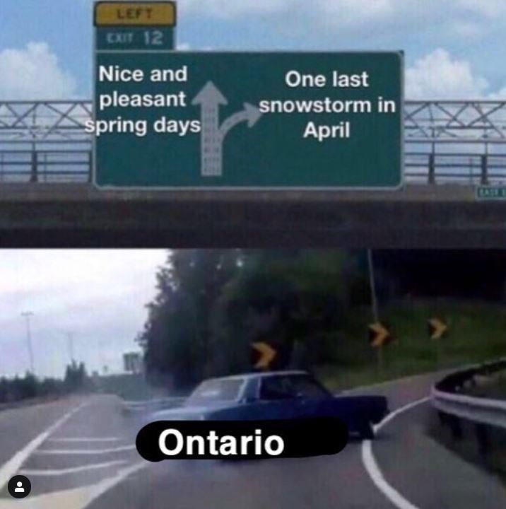 canada meme - Road - LEFT EXIT 12 Nice and pleasant Spring days One last snowstorm in April Ontario