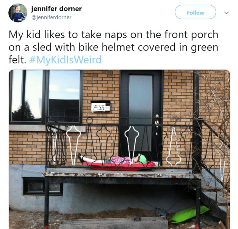 Iron - jennifer dorner Follow @jenniferdorner My kid likes to take naps on the front porch on a sled with bike helmet covered in green felt. #MyKidlsWeird 7433