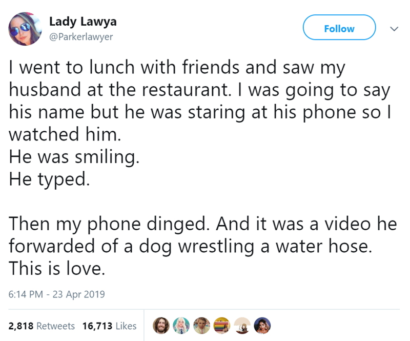Text - Lady Lawya @Parkerlawyer Follow I went to lunch with friends and saw my husband at the restaurant. I was going to say his name but he was staring at his phone so I watched him. He was smiling. He typed Then my phone dinged. And it was a video he forwarded of a dog wrestling a water hose. This is love. 6:14 PM 23 Apr 2019 2,818 Retweets 16,713 Likes