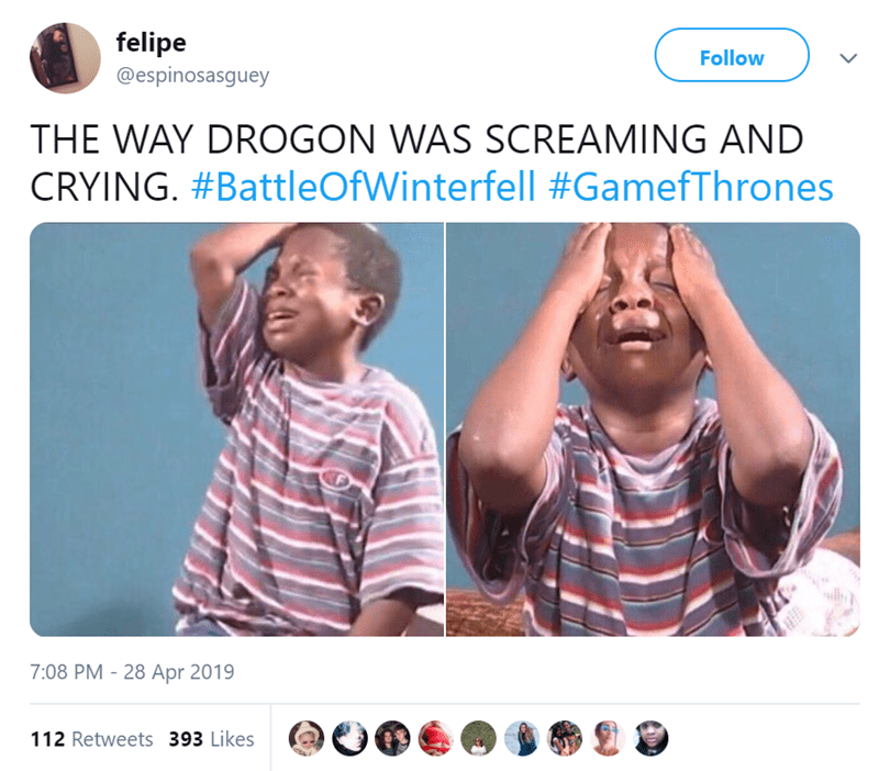 Joint - felipe @espinosasguey Follow THE WAY DROGON WAS SCREAMING AND CRYING. #BattleOfWinterfell #GamefThrones 7:08 PM - 28 Apr 2019 112 Retweets 393 Likes