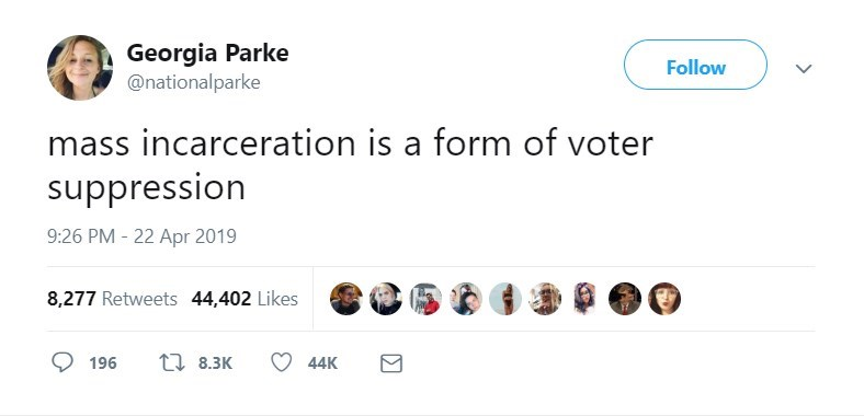 twitter post mass incarceration is a form of voter suppression