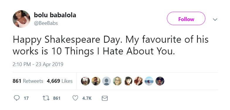 twitter post Happy Shakespeare Day. My favourite of his works is 10 Things I Hate About You.