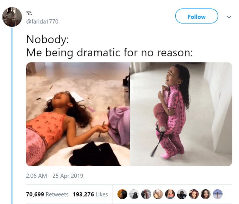 twitter post Nobody: Me being dramatic for no reason two pictures of a little girl crying