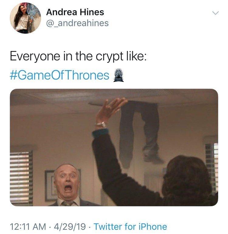 'Game Of Thrones' Season 8 Episode 3 'Battle For Winterfell' : Everyone in the crypt like: Gif from the office, game of thrones.