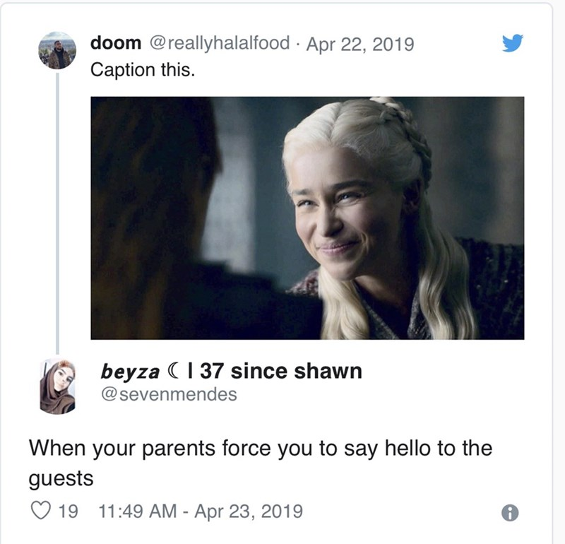 Text - doom @reallyhalalfood Apr 22, 2019 . Caption this. beyza 37 since shawn @sevenmendes When your parents force you to say hello to the guests 19 11:49 AM - Apr 23, 2019