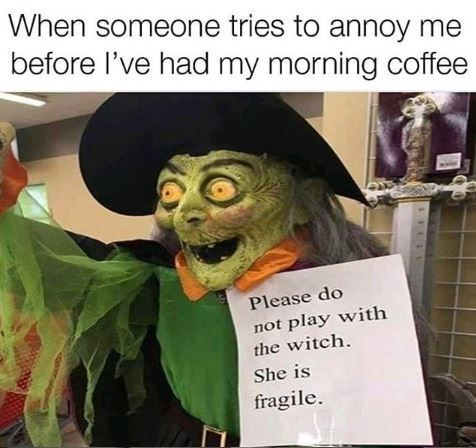 Photo caption - When someone tries to annoy me before l've had my morning coffee Please do not play with the witch She is fragile.