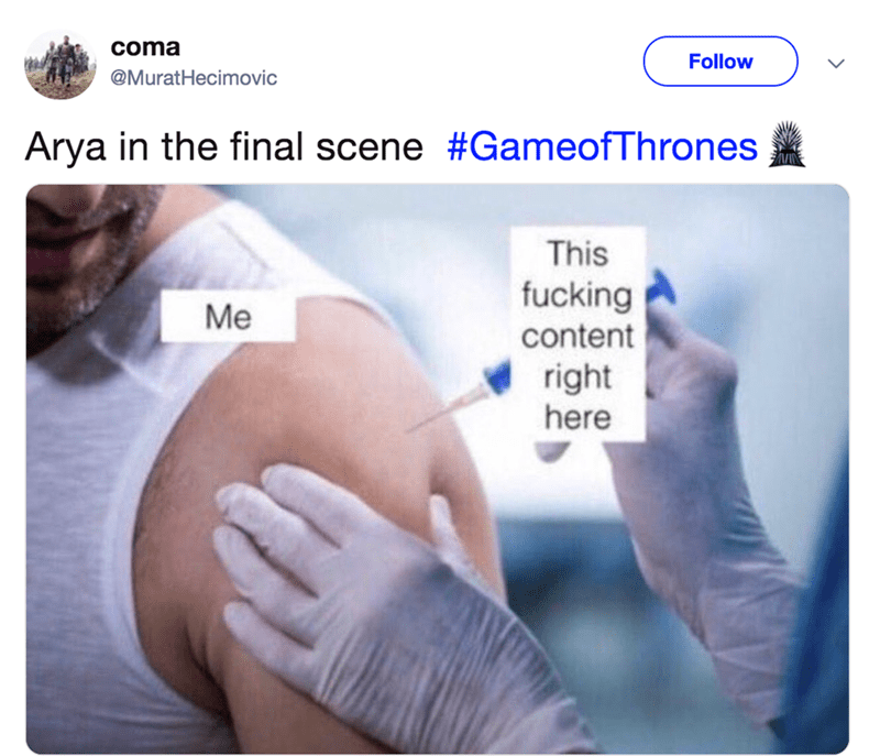 game of thrones reaction - Skin - coma Follow @MuratHecimovic Arya in the final scene #GameofThrones This fucking Me content right here