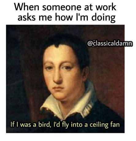 Text - When someone at work asks me how I'm doing @classicaldamn If I was a bird, I'd fly into a ceiling fan