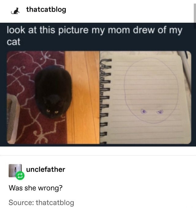 funny joke - thatcatblog look at this picture my mom drew of my cat unclefather Was she wrong? Source: thatcatblog