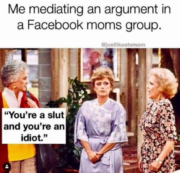 "People - Me mediating an argument in a Facebook moms group. @justlikeatvmom ""You're a slut and you're an idiot."""