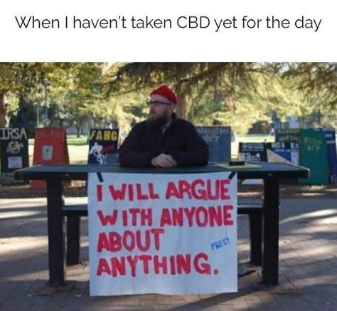 """Caption that reads, """"When I haven't taken CBD yet for the day"""" above a photo of a guy sitting at a table with a sign that reads, """"I will argue with anyone about anything"""""""