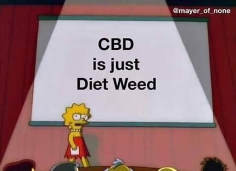 """Lisa Simpson presentation meme where the PowerPoint reads, """"CBD is just diet weed"""""""