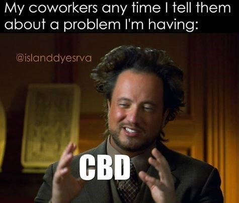 """Caption that reads, """"My coworkers any time I tell them about a problem I'm having"""" above a still of the 'Aliens' guy on the History Channel saying, """"CBD"""""""