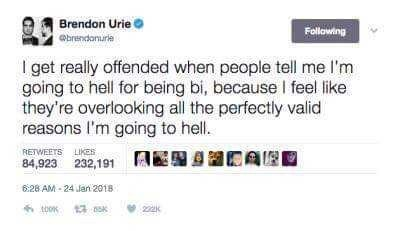 meme - Text - Brendon Urie brendonurie Following I get really offended when people tell me l'm going to hell for being bi, because I feel like they're overlooking all the perfectly valid reasons I'm going to hell. RETWEETS LIKES 84,923 232,191 628 AM-24 Jan 2018