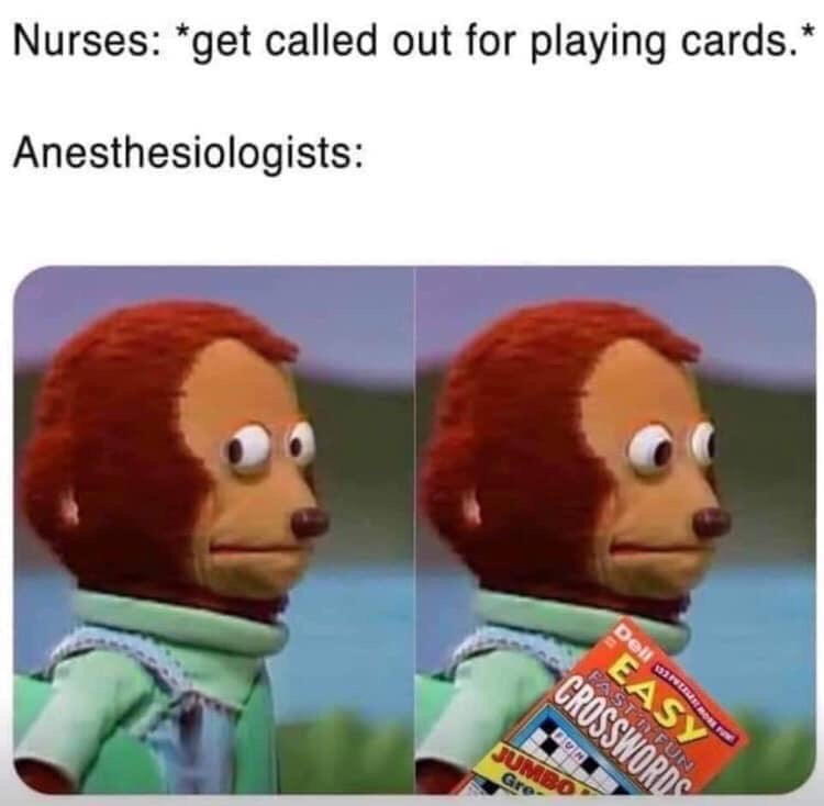 """medical memes - Cartoon - Nurses: """"get called out for playing cards. Anesthesiologists: Dellm EASY PAS CROSSWORDS FUN JUMBO Gre"""