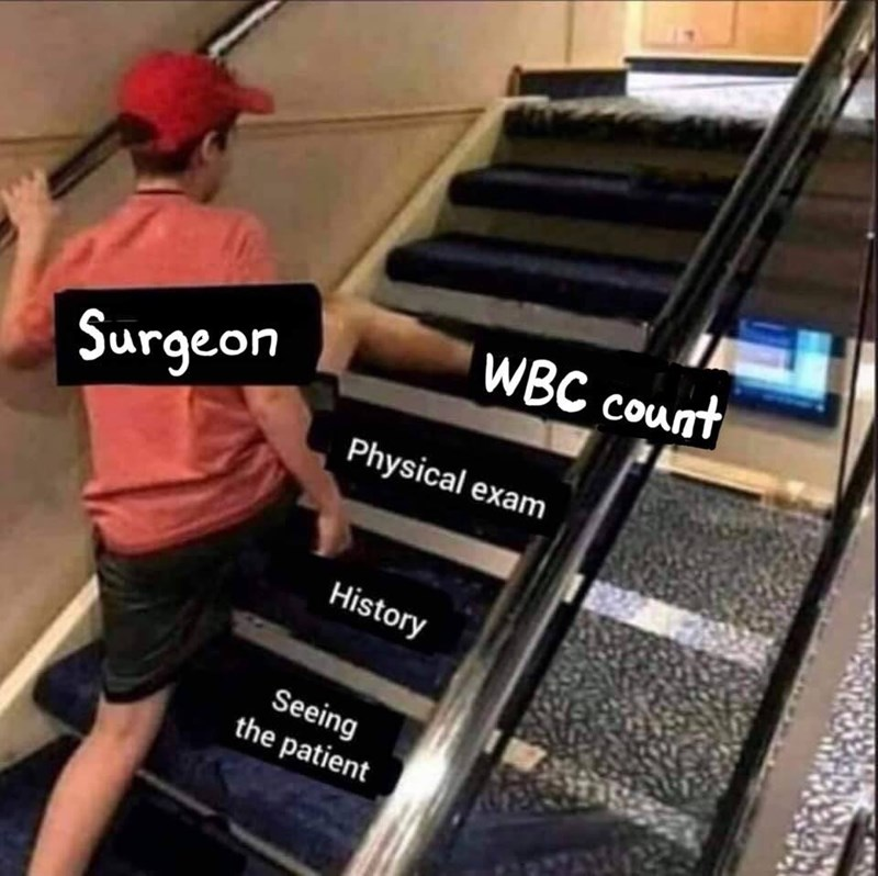 medical memes - Floor - WBC count Surgeon Physical exam History Seeing the patient