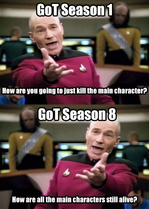 Facial expression - GOT Season 1 How are you going to just kill the main character? GOT Season 8 How are all the main characters still alive?