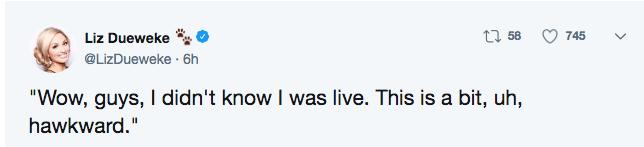 "seagull cam - Text - t 58 745 Liz Dueweke @LizDueweke 6h ""Wow, guys, I didn't know I was live. This is a bit, uh, hawkward."""