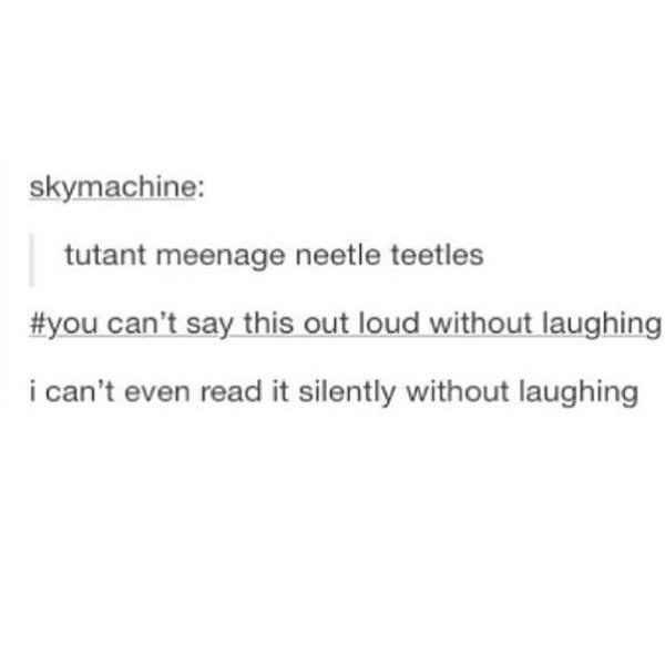 """Funny Tumblr post that reads, """"Tutant meenage neetle teetles - you can't say this out loud without laughing;"""" someone comments below, """"I can't even read it silently without laughing"""""""