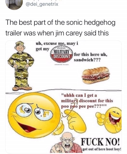 """sonic reaction - Facial expression - @dei_genetrix The best part of the sonic hedgehog trailer was when jim carey said this uh, excuse me, may i get my ITARY for this here uh, DISCOUNT sandwich??? """"uhhh can I get a militar discount for this poo poo pee pee???"""""""" FUCK NO! get out of here boot boy!"""
